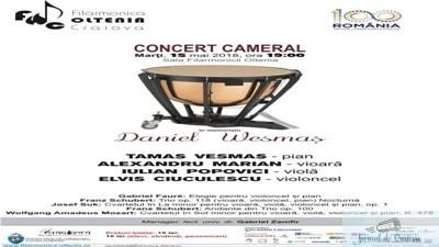 """Concert cameral """"In memoriam Daniel Wesmas"""" la Filarmonica """"Oltenia"""" Craiova"""